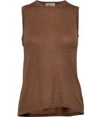 raka knit top t-shirts & tops knitted t-shirts/tops brun minus
