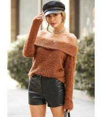 suéter de manga larga con hombros descubiertos y tejido mullido yoins