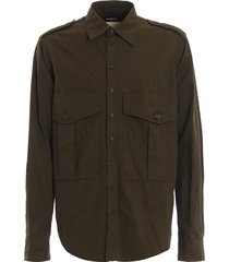 dsquared2 epaulettes army green cotton shirt