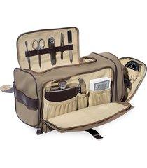 bey-berk 14-piece suede & stainless steel travel tote bag - brown multi