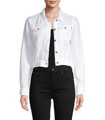 crop linen jean jacket