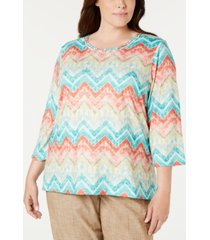 alfred dunner plus size santa fe printed top