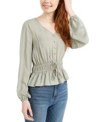 derek heart juniors' jacquard drawstring blouse