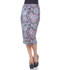 white mark multi paisley midi skirt