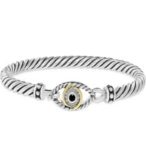 effy black diamond evil eye bangle bracelet (1/6 ct. t.w.) in sterling silver & 18k gold-plate