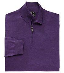 traveler collection merino wool quarter zip mock-neck men's sweater - big & tall