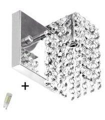 arandela de cristal legitimo clearcast com lâmpadas 3000k (b