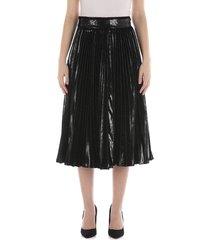 pleated midi skirt in flowing lamé velvet