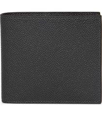 classic pebble leather bill-fold wallet dark grey
