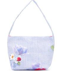 lapin house bolsa tiracolo com estampa floral - azul