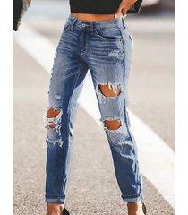 bolsillos laterales azules detalles rasgados al azar jeans