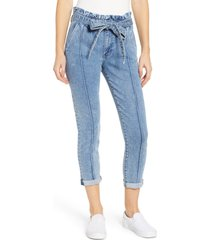 women's prosperity denim paperbag waist crop skinny jeans, size 32 - blue