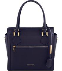 tuscany leather tl141644 lara - borsa a mano in pelle con zip frontale blu scuro