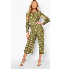 culotte jumpsuit met stippen en geplooide manchettes, khaki