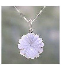 agate pendant necklace, 'frosty flower' (india)