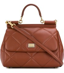 dolce & gabbana diamond-quilt sicily tote - brown