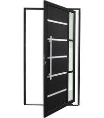 porta pivotante esquerda com lambri e puxador em alumínio miraggio 210x120cm preto