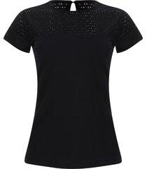 camiseta corte encaje color negro, talla 14