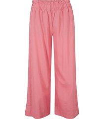 pantaloni culotte cropped in misto lino (rosa) - bpc bonprix collection