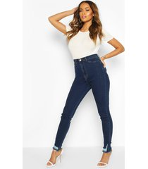 power stretch skinny jeans met gerafelde zoom, donkerblauw