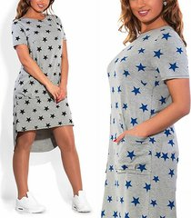 women summer star print pocket high low dress top casual baggy blouse plus size