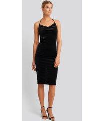 trendyol strap neck midi dress - black
