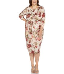 adrianna papell floral tie front padded shoulder sheath dress, size 24w in alabaster multi at nordstrom