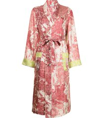 pierre-louis mascia embroidered belted silk coat - multicolour