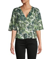 ava & aiden women's floral-print wrap top - green island forest - size xs