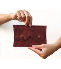 portfel śliwkowy zamsz