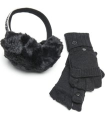 calvin klein 2-pc. faux fur earmuffs & flip-top gloves set