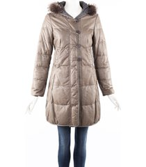 brunello cucinelli gray down filled fur trim hood puffer coat gray sz: s