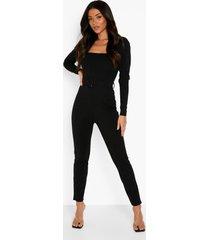 getailleerde jumpsuit met pofmouwen en ceintuur, black