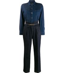 pinko belted two-tone denim jumpsuit - blue