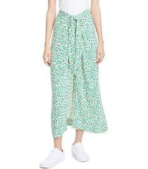 women's ganni print tie waist midi skirt, size 10 us / 42 eu - green