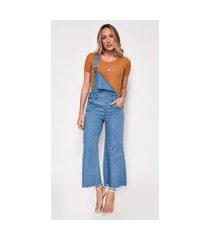 macacão jeans express pantacourt mona azul