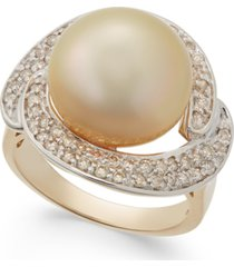 cultured golden south sea pearl (13mm) and diamond ring (5/8 ct. t.w.) in 14k gold