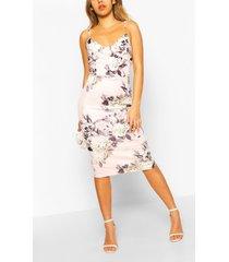 bodycon-midi-jurk met korset en bloemenprint, roze
