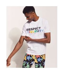 "camiseta masculina pipe respect diversity"" manga curta gola careca branca"""