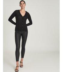 reiss paloma - fine jersey cardigan in black, womens, size xl