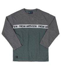 camiseta manga longa quimby cinza