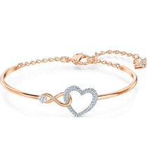 swarovski two-tone crystal heart & infinity symbol bangle bracelet