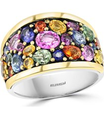effy multi-sapphire cluster statement ring (4-1/4 ct. t.w.) in sterling silver & 18k gold-plate