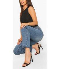 jeans met rechte pijpen en hoge taille in kleine maten, middenblauw