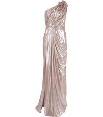 lamé one shoulder drape gown