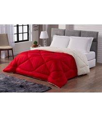 cobertor sherpa sweet dupla face tamanho queen vermelho e palha casa dona - vermelho - feminino - dafiti