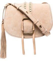 ba & sh teddy tassel crossbody bag - neutrals
