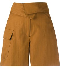 kenzo wrap-front cotton shorts - brown