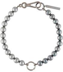 marine serre hybrid beaded choker necklace - silver