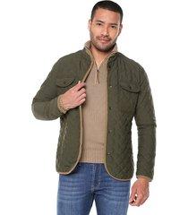 chaqueta verde preppy acolchada rombos